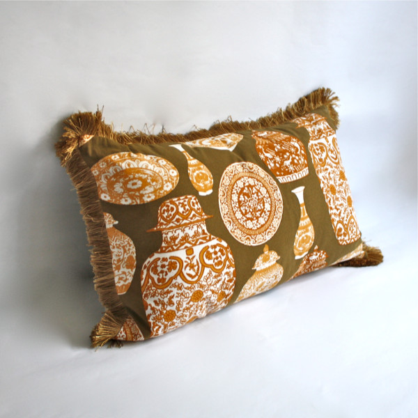 Gaëlle Designer Pillow - 38cm x 66cm Porcelaine in Bronze