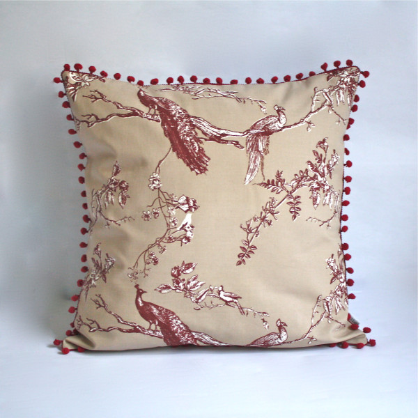 Gaëlle Designer Pillow - 50cm x 50cm Birds of Paradise in Khaki
