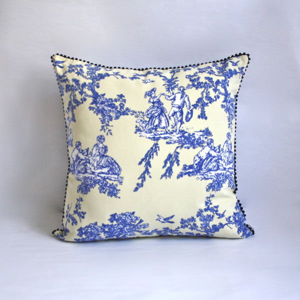 French Toile Blue Pillow 2