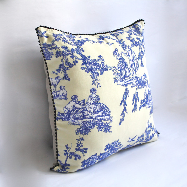 Gaëlle Designer Pillow - 50cm x 50cm French Toile in Blue