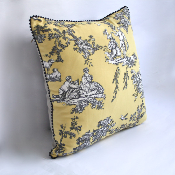 Gaëlle Designer Pillow - 50cm x 50cm French Toile in Canary