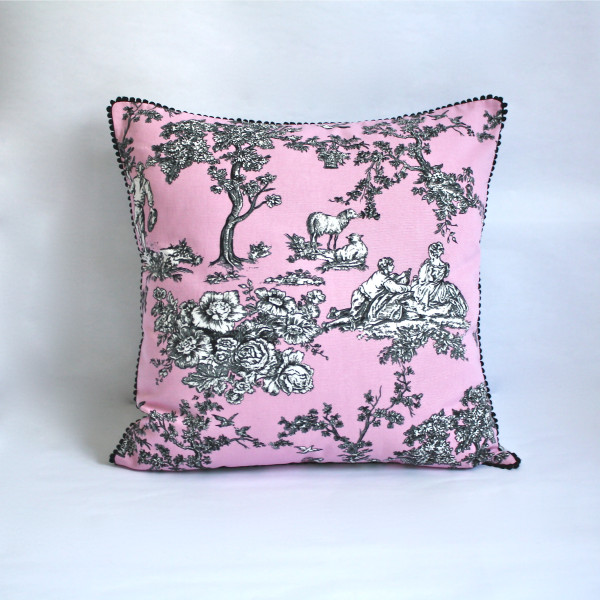 French Toile Mauve Pillow 2