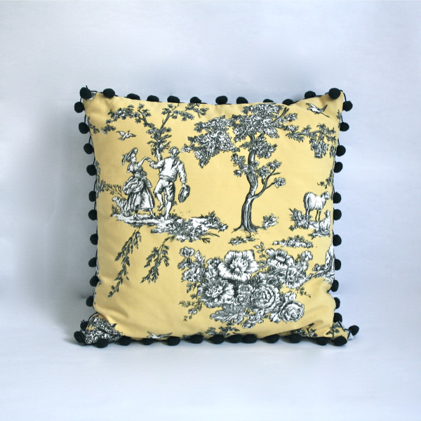 French Toile Canary Pillow 2