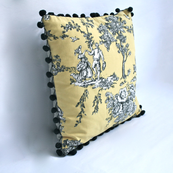 Gaëlle Designer Pillow - 45cm x 45cm French Toile in Canary