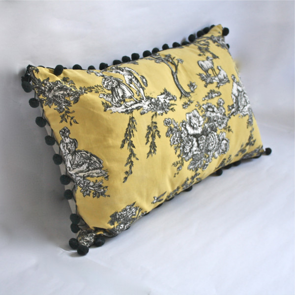 Gaëlle Designer Pillow - 38cm x 66cm French Toile in Canary