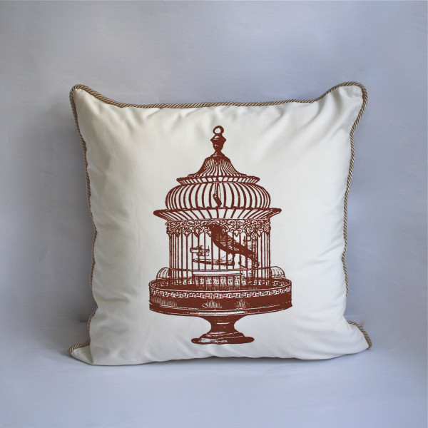 Gaëlle Sepia Collection - 65X65cm Birdcage Luxury Cushion