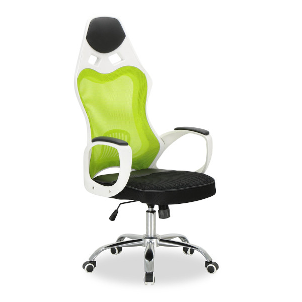 Lavoro High Executive Chair (White Frame + Green Mesh)