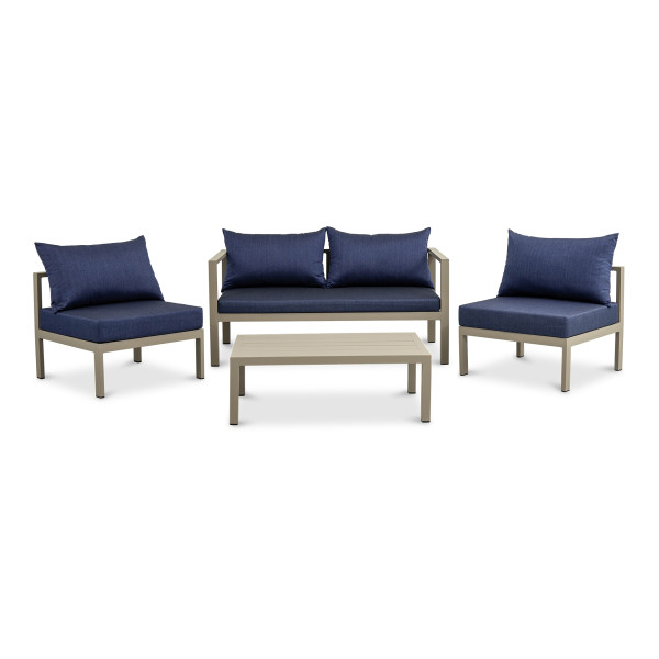 Pastoral 4 Seater Outdoor Sofa Set in Khaki with blue cushions