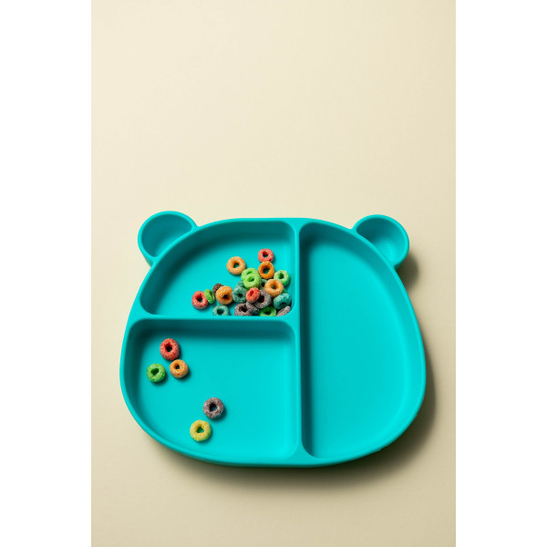 Emmi Silicone Bear Toddler Plate (Turquoise)