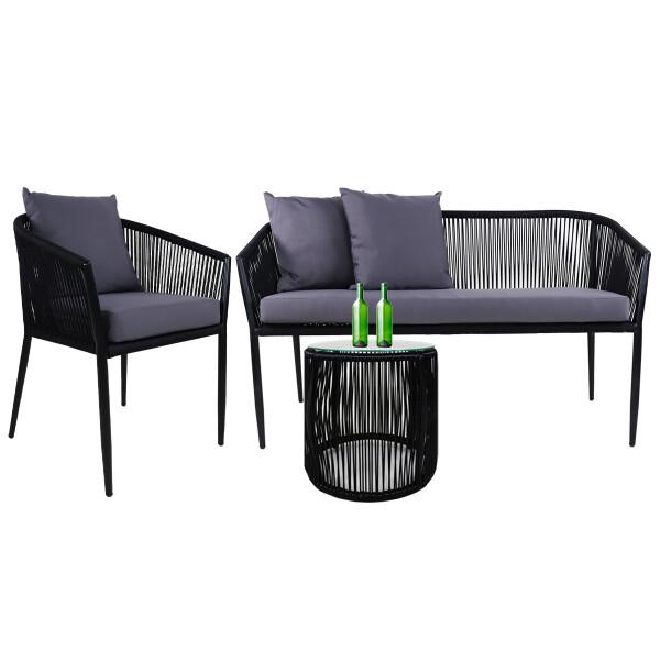 Kyoto Sofa 2 + 1 Seater, Grey Cushions