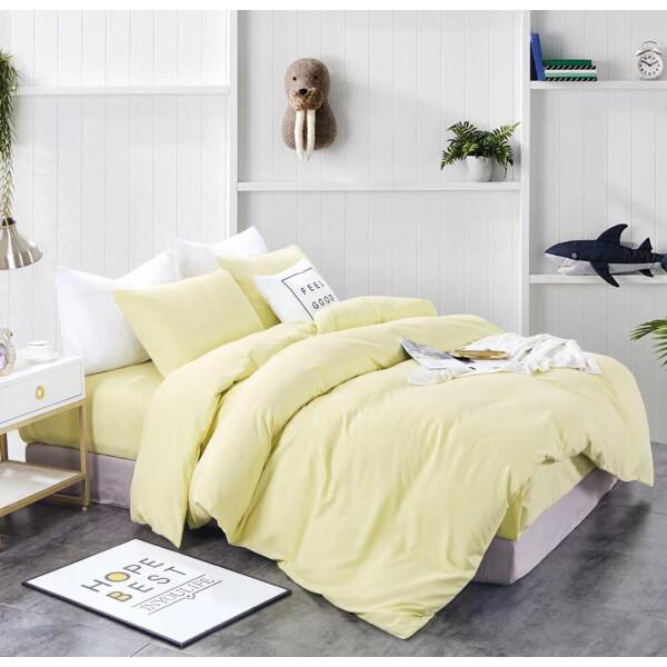 Bedding Day - Soft Microfiber Solid 700TC Fitted Sheet Set - Lemon Chiffon