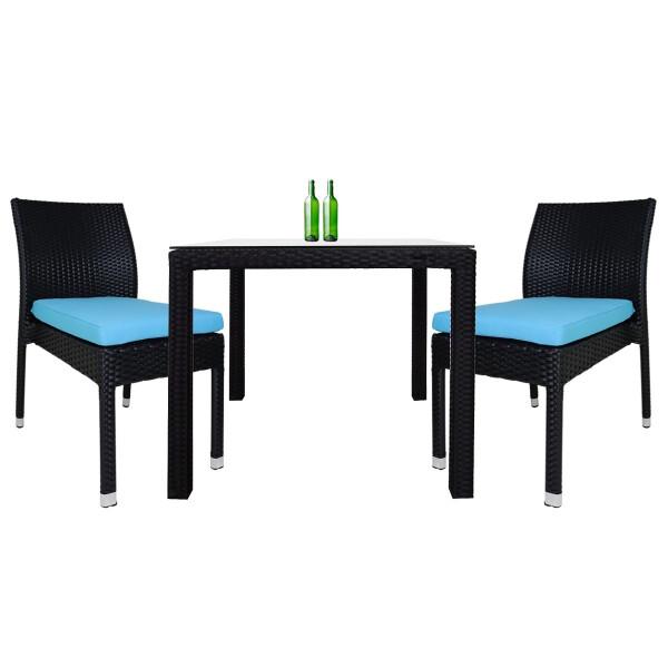 Monde 2 Chair Dining Set Blue Cushion