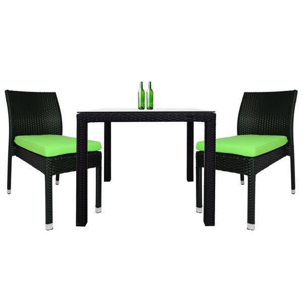 Monde 2 Chair Dining Set Green Cushion