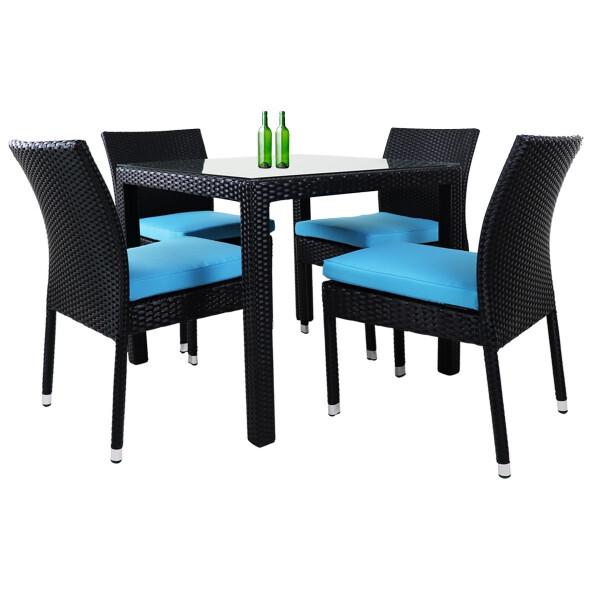 Monde 4 Chair Dining Set Blue Cushion