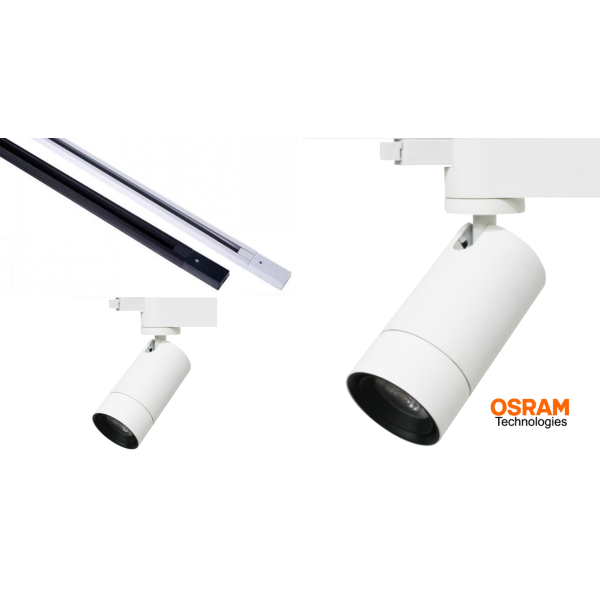 Osram Professional Track Bundle (While Stocks Last) - 1 meter Track (White or Black) + 2 x Osram Zoomable Track