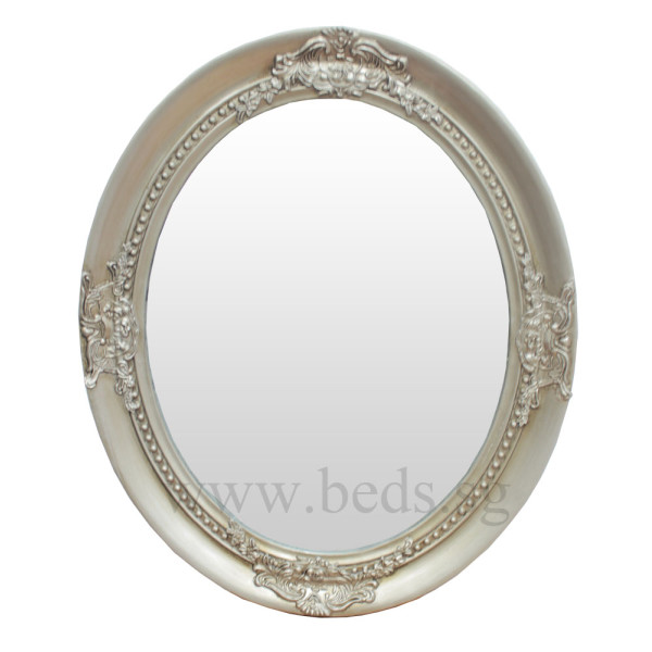 Veral Oval Hanging Mirror Antique Silver 63cmx52cm