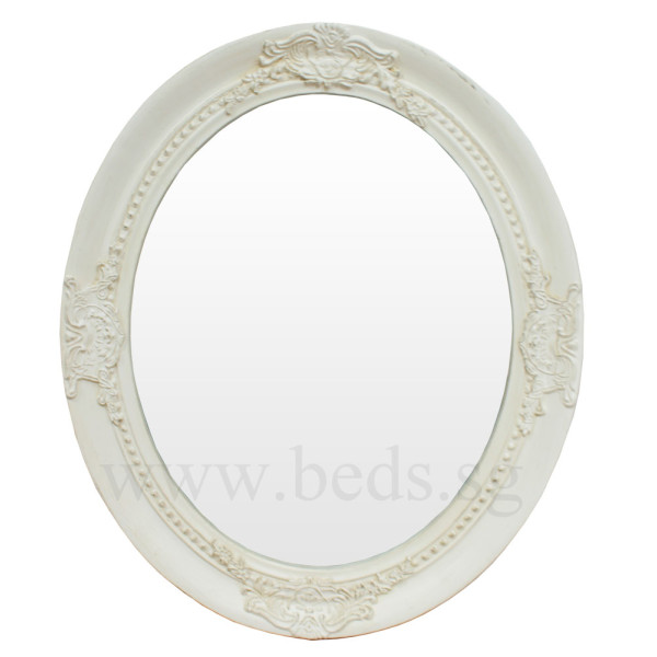 Veral Oval Hanging Mirror Antique White 63cmx52cm