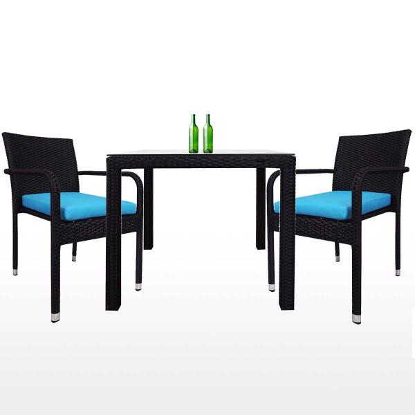 Palm 2 Chair Dining Set, Blue Cushion