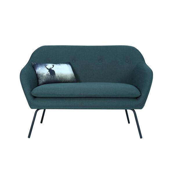 Picanto 2 Seater Sofa with Matt Black Epoxy Leg, Dark Green