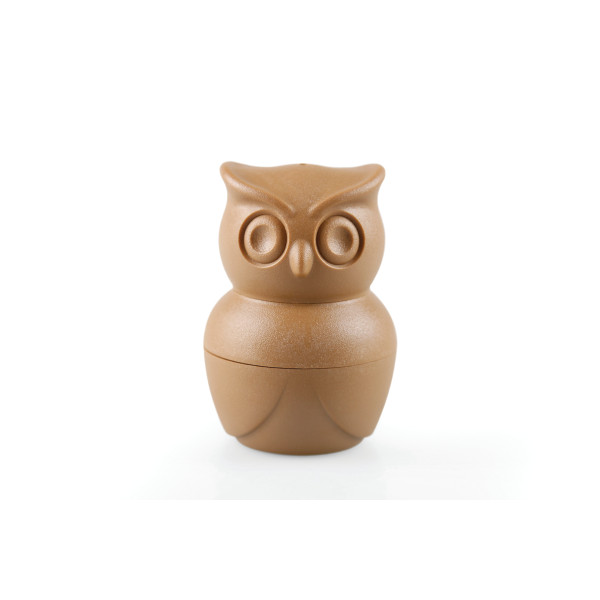 Morning Owl Egg Cup cum Shaker Set by Qualy (Brown)