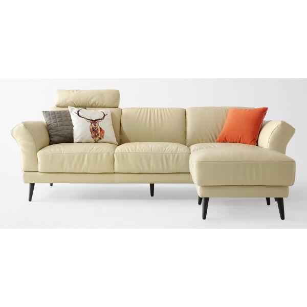 Phebe Leather 3-Seater Sofa & Ottoman (Cream)
