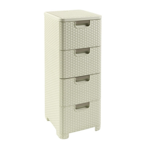 Curver Rattan Style 4 Drawer Off White