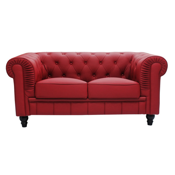 Benjamin Classical 2 Seater PU Leather Sofa (Maroon)