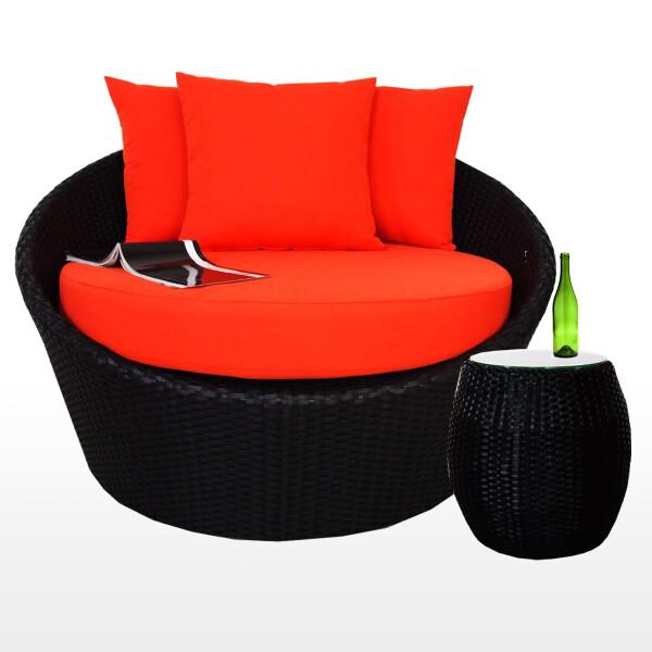 Round Sofa with Coffee Table, Orange Cushion