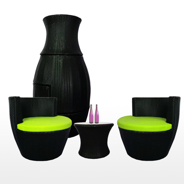 Stackable Patio Set, Green Cushions