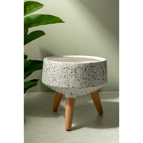 Andee Ceramic Pot (Speckled White)