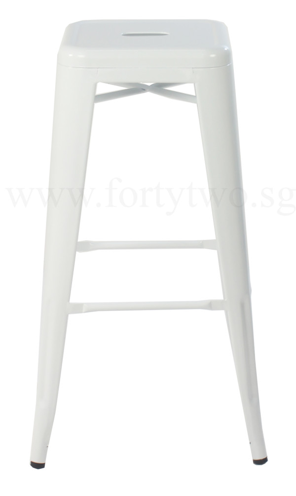 Retro Metal Bar Stool (White)