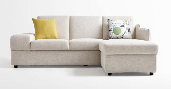 Isabel 3 Seater Storage Sofa Bed + Ottoman (Cream)