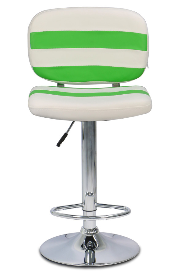 Latory Bar Stool in White (Green Stripes)