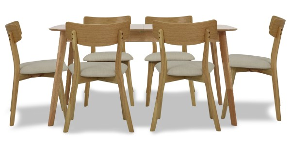 Kimberly Butterfly Extension Dining Set in Oak (1+6)
