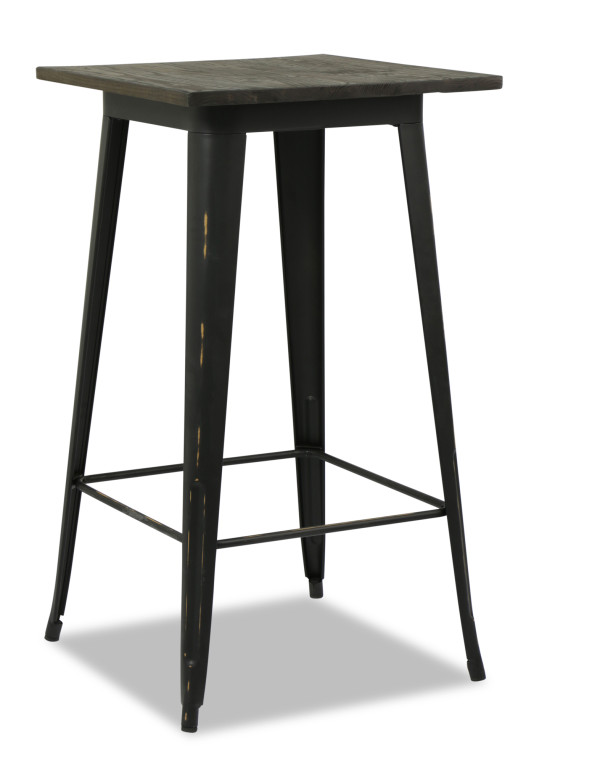 Loft Style Bar Table with Wood Top in Antique Black