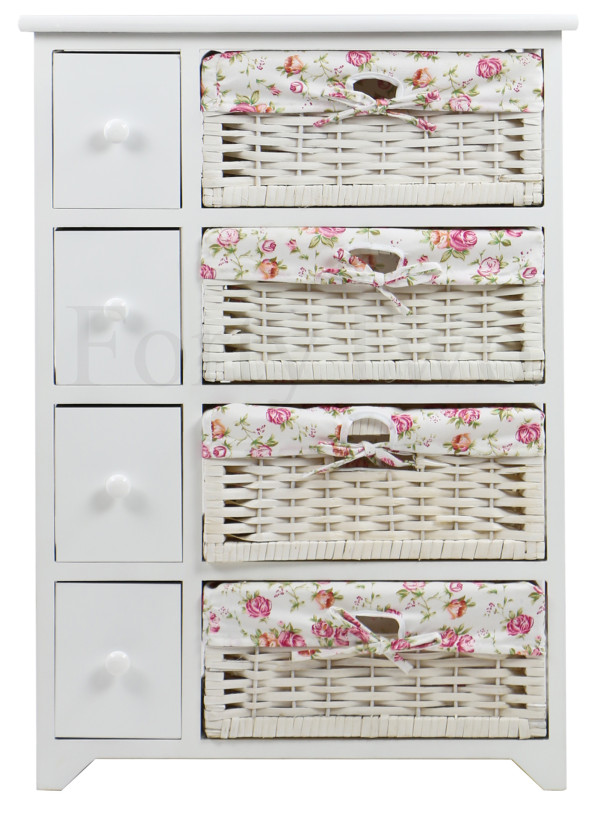 Abriata Wicker Basket Wooden Storage Cabinet