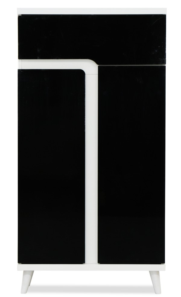 Damir I Shoe Cabinet in Black and White