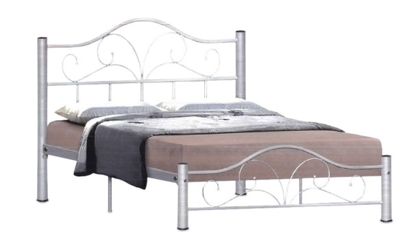 Dionysus Metal Bed Frame in Queen Size (Silver)