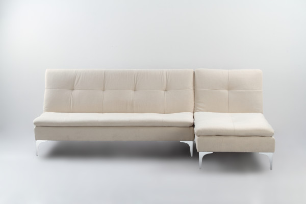 Cozy 3 Seater L Shape Sofa Bed White