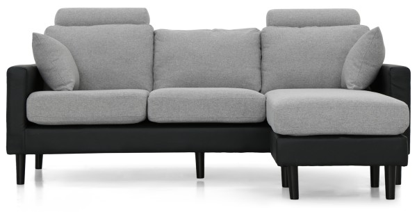Earvin L-Shape Sofa PU Black With Light Grey Fabric Cushion