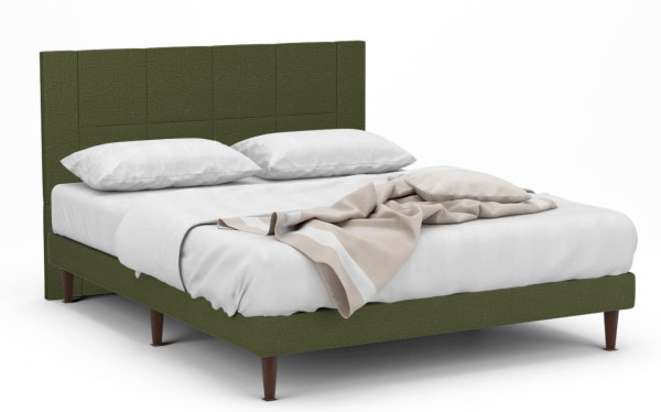 Loxley Fabric Bed Frame With Walnut Legs