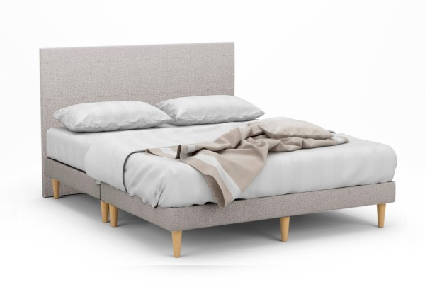 Delphine II Fabric Bed Frame With Tall Beech Legs