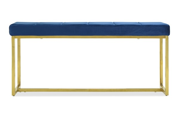 Opal Bench in Gold Legs (Velvet Blue)