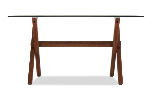 Merletta Glass Dining Table In Mahogany