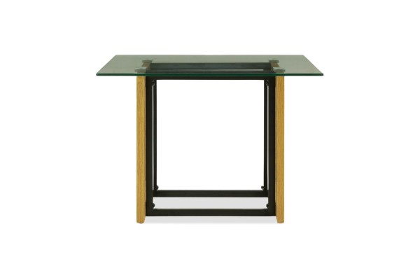 Kristopher Glass Coffee Table In Wood Leg