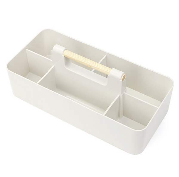 Izumi Stackable Caddy With Wood Handle (White)