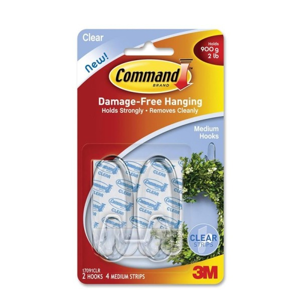 3M Command™ 17091CLR Medium Hooks with Clear Strips