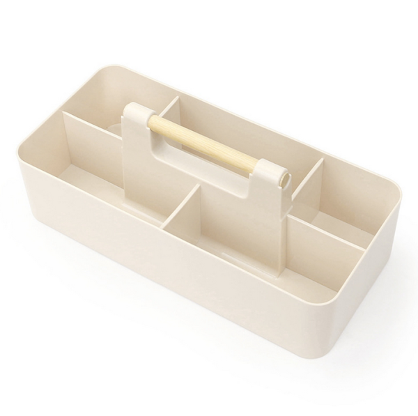 Izumi Stackable Caddy With Wood Handle (Beige)