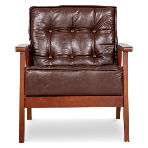 Hans 1 Seater Sofa (PU Dark Brown)