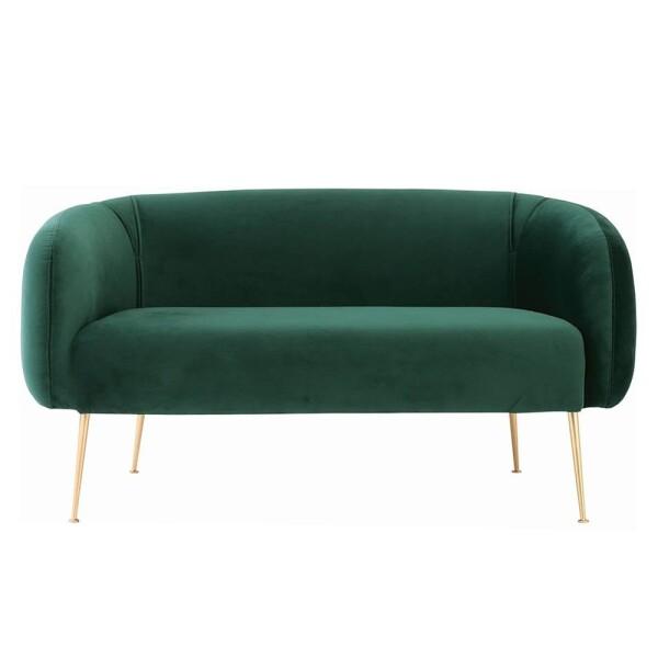 Alero 2 Seater Sofa with Gold-Plated Leg, Dark Green